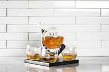 Whiskey Decanter Globe Set with 4 Etched Glasses Liquor Scotch Wine Bar Tools