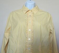 Lands End Womens Button down Shirt Blouse with Ruffle Yellow Striped  -10