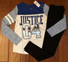 NWT JUSTICE GIRLS SIZE 12 OUTFIT~BLUE SEQUIN LOGO FOOTBALL TEE & LEGGINGS