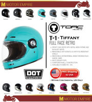 TORC T1 Retro Full Face Fiberglass Motorcycle Helmet Tiffany Glossy Blue DOT ECE