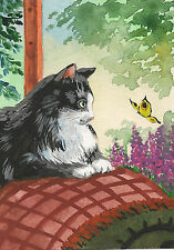 ACEO PRINT of PAINTING RYTA FOLK ART TUXEDO CAT BUTTERFLY WHIMSICAL FLOWERS TREE