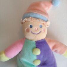 Gymboree Clown Plush Pastel Orange Lovey Stuffed Doll Soft Coth Toy Green Purple