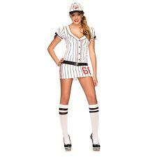 Fastball Fox Womens Sexy Halloween Costume sz M/L NEW Baseball Dress Leg Avenue