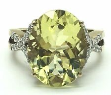 Sterling Silver Gold Tone Oval Solitaire Peridot CZ X Split Pave Cocktail Ring