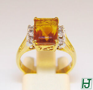 New Golden Topaz Ring with 6 Diamonds, 3.89 carat in 14k 2-tone Gold, Size 6.5