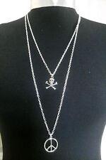 Friedenszeichen & Totenkopf Charms Mehrschichtige Halskette Minimalist