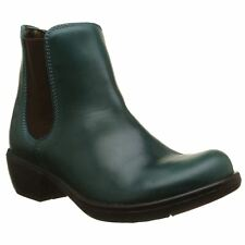 FLY LONDON MAKE PETROL GREEN LEATHER CHELSEA ANKLE BOOTS UK 4 EUR 37 RRP £100