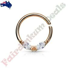 Rose Gold Ion Plated Bendable Septum/Cartilage Ring Prong Set Marquise Clear CZ
