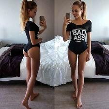 Summer Womens Black Off Shoulder T Shirt Bodysuit Leotard Tops Blouse Jumpsuit