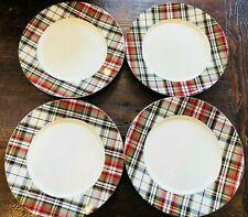 POTTERY BARN Rare DENVER PLAID Set 4 Dinner Plates Christmas NEW