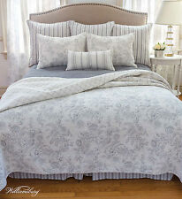 CLEMENTINA DOVE GREY Full Queen QUILT SET : WHITE FRENCH TOILE WILLIAMSBURG GRAY