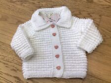 Hand knitted white cardigan 6-9 months new