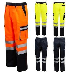 Mens Hi Vis Viz COMBAT BOTTOMS Safety Cargo Highways Railwa Workwear Pants