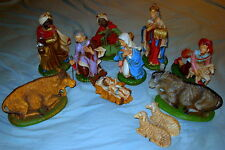 Vintage Large Scale 12 Piece Italian Paper Mache Christmas Nativity Set
