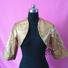 New Style Shrug Wedding Jacket Stole Bolero Evening Dress 3/4 Sleeve Ivory shiny