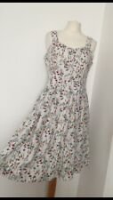 Joe Browns White Cotton Floral Dress With Pockets Size 12 Button Up