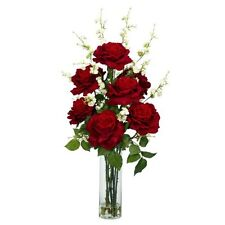 Nearly Natural 1203 Roses with Cherry Blossoms Silk Flower Arrangement- Red