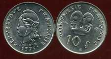 POLYNESIE francaise 10 francs 1975
