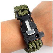Camping Survival Bracelet Scraper Whistle Flint Fire Starter Gear Multi Tool