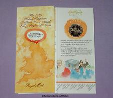 1989 Royal Mint espécimen declaración de derechos £ 2 moneda en la carpeta