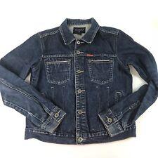 Nautica Jeans Company Womens Jean Denim Jacket Small Button Down Dark Wash Blue