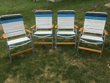 2 sets of 4 VINTAGE TELESCOPE FOLDING LAWN CHAIRS MID CENTURY ALUMINUM  WOW!