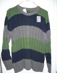THE CHILDREN'S PLACE green navy gray striped sweater~L~10-12~NEW~nwt~cable knit~