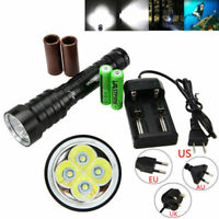Diving Light Underwater 20000LM 4x XM-L T6 LED Flashlight Dive Torch 18650/26650