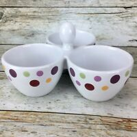 The Pampered Chef SIMPLE ADDITIONS Polka Dots 3 Bowl Condiment Dish Nuts Candy