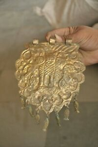 Old Brass Handcrafted Lion/Ashok Pillar Embossed Horse Pendant/Jewellery