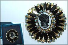 Juliana DeLizza & Elster Black & White Cameo Brooch Pin ~ Book Piece