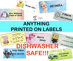 36 x Personalised Name Stickers Vinyl Tag Label Medium Waterproof FROZEN PEPPA