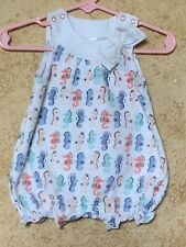 Gymboree Baby One Piece Summer Sea Horse Print Adorable Layette Size 0-3 Months