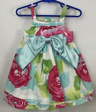 Editions Baby Girl Dress Size 3-6 Months White Flowers Dressy Big Bow