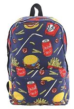 Hamburger Fries Coke Fast Food Inspired Canvas Backpack Satchel Bag