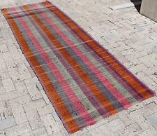 Turkish Kilim Rug 37''x110'' Oriental Rug Runner Kilim Colorful Hallway Rug