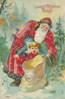 Santa Claus Puts Little Child in Sack~Antique~Embossed Christmas Postcard-s960