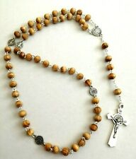 First Holy Communion ROSARY BEADS WOODEN ADULT NECKLACE WOOD CROSS CRUCIFIX