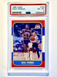1986 Fleer ISAIH THOMAS PSA 6 Detroit Rookie RC Pistons HOF #109