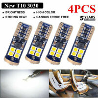 4x Canbus T10 3030 12SMD LED 4000K Warm White Car Side Light 720LM Bulbs EW