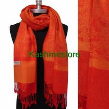 New Paisley Pashmina Silk Cashmere Shawl Scarf Stole Wrap Soft Orange/Red #P304
