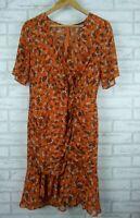 Piper Dress Orange, brown floral print Sz 14