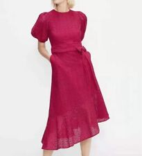 AUTH Ted Baker Multi Lace Puff Sleeve Midi dress Red 1-5