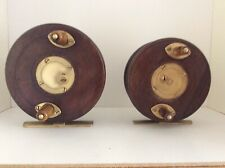 Vintage Pair Of Slater Latch Wood And Brass Centrepin Reels