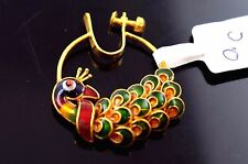 22k 22ct Yellow GOLD ELEGANT PEACOCK DESIGN ENAMEL NOSE RING NATH WOMAN T10