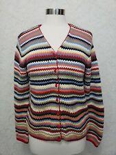 Talbots Red Stripe Cardigan Sweater Long Sleeve button front V- Neck MEDIUM
