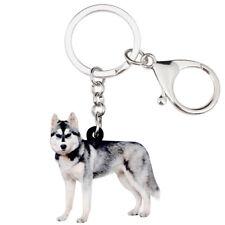 Acrylic Siberian Husky Dog Keychain Rings Decor Jewelry For Women Wallet Handbag