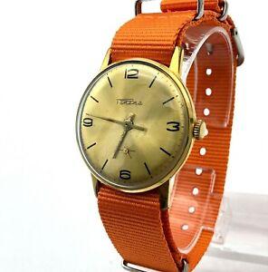 Vintage Retro Watch RAKETA Gold Plated Mens Classic USSR Mechanical Golden Dial