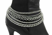 Women Western Jewelry Boot Silver Metal Chain Bulky Bracelet Shoe Sexy Statement