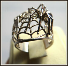 Halloween Sterling Silver 925 ring sz 8 The spider and the Fly Spiderweb vtg